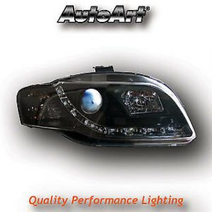 For Audi A4 B7 04-08 Black LED DRL Projector Headlights Lighting Lamp