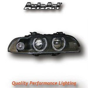 Black Angel Eye Projector Headlights For BMW 5-Series E39 95-00Pre-Facelift Only