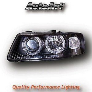Black Angel Eye Projector Headlights Lamps For Audi A3 8L Pre-Facelift 96-00