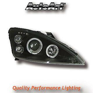Black Projector Angel Eye Headlights For Ford Focus Mk1 Pre-Facelift 98-09/01