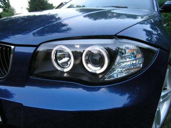 Black Projector LED Angel Eye Headlights For BMW 1 Series E81 E81 E87 LED Halo