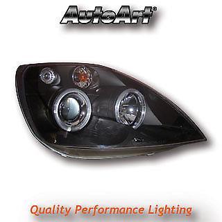 Black Projector Angel Eye Headlights For Ford Fiesta Mk6 2002 To 2007