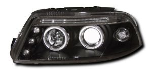 Black Angel Eye Projector Headlights For VW Passat 10.2000 To 09.2004