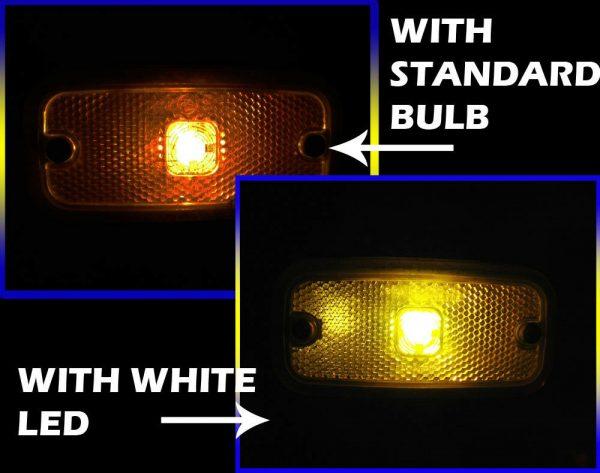 White 24V High Power LED Ba9S/249/233 Bulb Side Marker Position Light Lamp