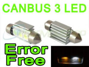 Pair 36mm Canbus Error Free Festoon Xenon White 3 Smd LED Bulbs Lighting Part