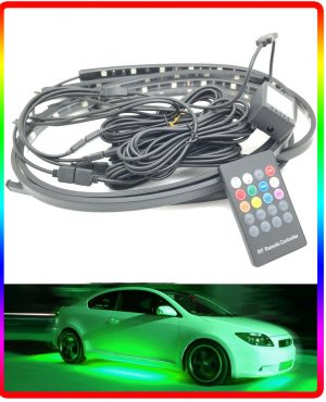 Remote control Multicolour Flexible Ground Undercar LED Neon Kit Glow strobe