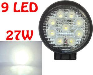 Fits Land Rover - 12V / 24V 27W 11cm 9 LED Work Light 4X4 Truck Off-Road Spot La
