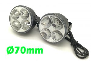 Round DRL 4 LED Daytime Running Lights Lighting Front Spot Fog Indicator Lamps