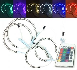 4x RGB LED Angel Eye Halo Rings Light remote control For BMW X5 E53 99-06