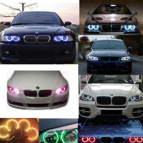 4x RGB LED Angel Eye Halo Rings Light remote control For BMW X5 E53 99-06