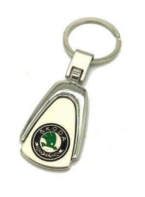 Logo Emblem Key Ring Chain Fob Xmas Gift Keychain Metal Chrome For Skoda Rapid