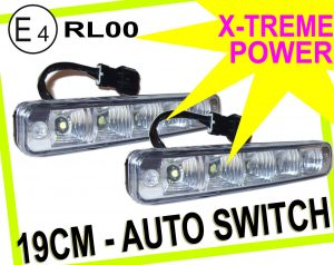 Universal 5 LED X-Treme High Power 19cm DRL Lights Auto Switch E4 & Rl00