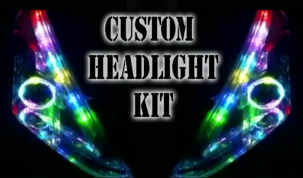 Custom bluetooth LED RGB Headlight Halo Angel eye DRL retrofit showcar
