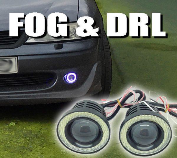 Projector Cob LED Fog DRL Spot Lights Angel Eyes Pair 3.5 3 & 2.5 2400 Lumens