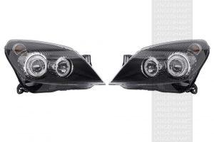 RHD LHD Front Right Left Angel Eye Headlights Set Halogen Fits Vauxhall Astra H
