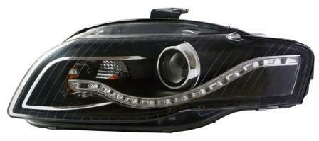 Eagle Eyes Starline LHD Projector Headlights Pair DRL Black For Audi A4 B7