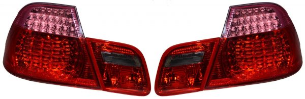 Back Rear Tail Lights Lamps Red Pink LED Pair For BMW E46 Coupe 99-03