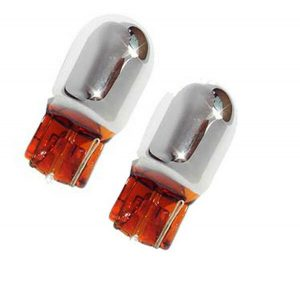 Pair 582 7440 T20 Chrome/Silver Amber Indicator Bulbs Lighting Part Silvatec