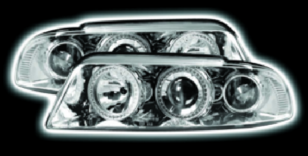 Chrome LED Halo Ring Projector Headlights For Audi A4 B5 8D 1995 To 2000