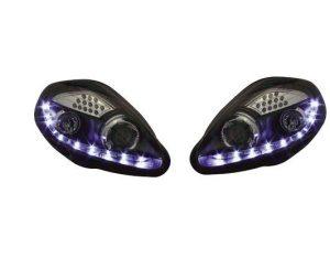 Black DRL Devil Eye Projector Headlights For Fiat Grande Punto LED Indicator