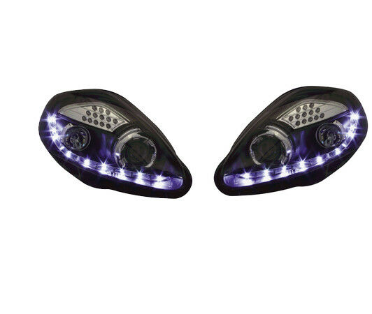 Black DRL Devil Eye Projector Headlights For Fiat Grande Punto LED Indicator
