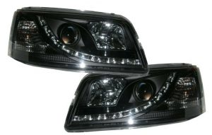 For VW Transporter T4 93-03 Black DRL Projector Headlights Lamp Part Type 2