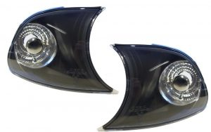 For BMW 3 E46 2Dr 98-01 Front Indicator Crystal Black Pair Clip-In Type