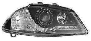 For Seat Ibiza & Cordoba 10/02-08 Projector Headlights Black Inner Chrome DRL