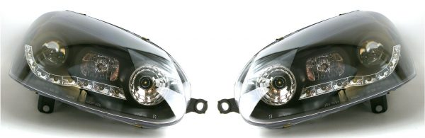 For VW Golf Mk5 04-09 Black DRL Projector Headlights Lighting Lamp Replacement