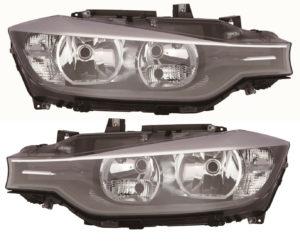 Right Left Headlight Kit H7 H7 Black Motor For BMW 3 Series F30 F31 F34