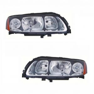 For Volvo V70 Mk2 5/2005-10/2007 Headlights Lamps Grey Surround Pair OS NS