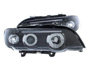 For BMW X5 E53 00-03 Black LED angel eye Halo Projector Headlights