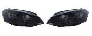 Fits VW Golf MK7 VII 12-17 U LED Black Projector headlights headlamps pair RHD
