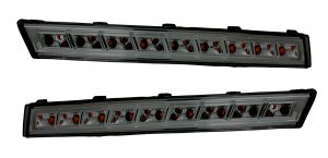 Pair LED Front Indicators Detector For VW Passat 3C 2005-10 In Black Smoked