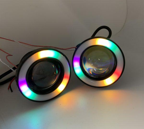 RGB colourchange Projector Cob LED Fog DRL Spot Lights Angel Eyes 76mm 89mm