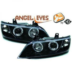 LHD Projector Headlights Pair Angel Eyes Clear Black H1 For BMW Z3 Roadster