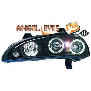 LHD Projector Headlights Pair Angel Eyes Clear Black H1 H1 For Vauxhall Tigra