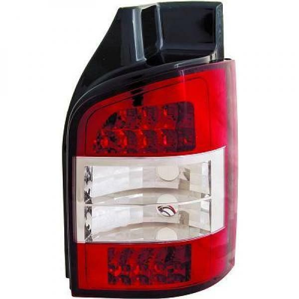 Back Rear Tail Lights Pair Set LED Clear Red White For VW T5 Caravelle 03-10