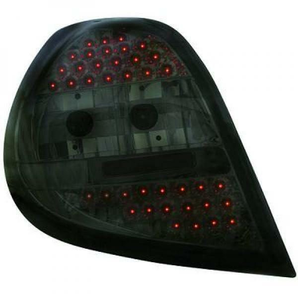 Back Rear Tail Lights Pair Set LED Clear Black For Renault Clio 05-09