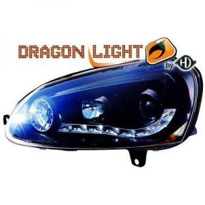 LHD Projector Headlights Pair LED Dragon Clear Black H1 H1 For VW Golf V 03-08