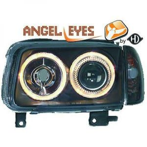 RHD LHD Projector Headlights Pair Angel Eyes Clear Black H7 H7 For VW Polo
