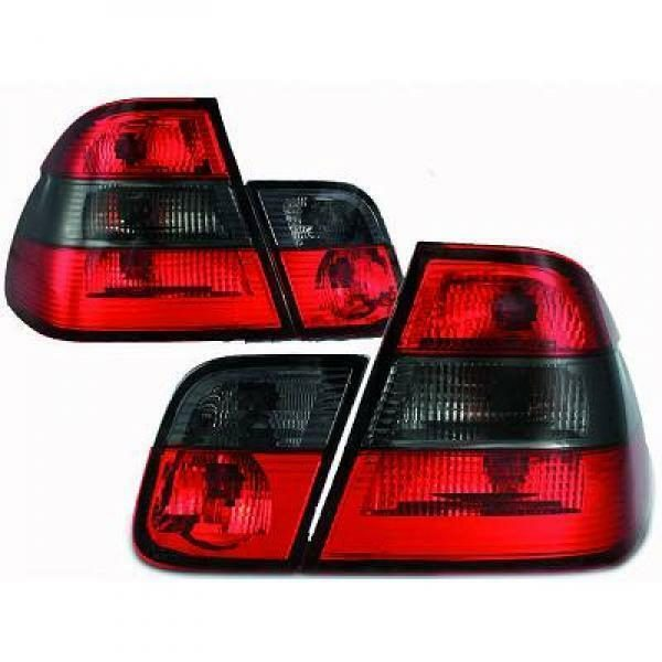 Back Rear Tail Lights Pair Set Clear Red Black For BMW 3 Series E46 Saloon 98-01
