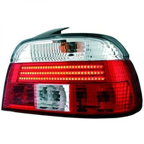 Back Rear Tail Lights Pair Set LED Strip Red White For BMW E39 95-00