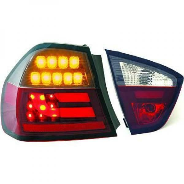 Back Rear Tail Lights Pair Set Clear Red Black For BMW E90 Saloon 05-08