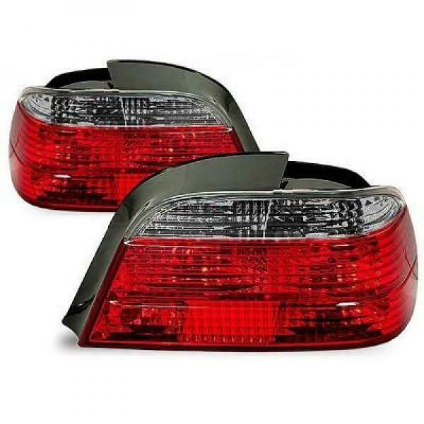Back Rear Tail Lights Pair Set Brilliant Red Grey For BMW 7 Series E38 94-98