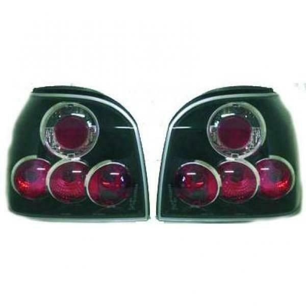 Back Rear Tail Lights Pair Set Clear Black For VW Golf III 91-97