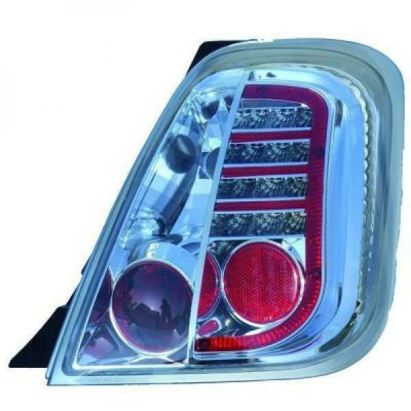 Back Rear Tail Lights Pair Set LED Clear Chrome For Fiat 500 Saloon 07-On