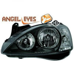 LHD Projector Headlights Pair Angel Eyes Clear Black H7 H7 For Vauxhall Corsa C