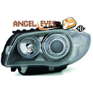 RHD LHD Projector Headlights Pair Angel Eyes Chrome For BMW 1 Series E81 E87