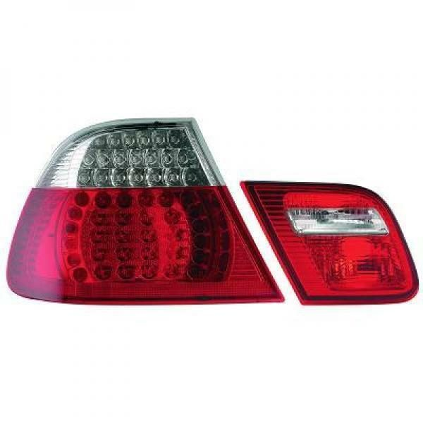 Back Rear Tail Lights Pair Set LED Clear Red White For BMW E46 Coupe 03-07